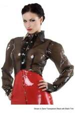 R0968 Rubber Latex Blouse Shirt 16 UK TRANS BLK/BLK SECONDS RRP £179.92