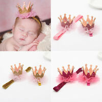 Cute Baby Kids Girls Shiny Crown Princess Hair Clip Elastic Lace Pearl Headband