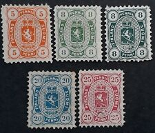 RARE 1875- Finland lot of 5 National Arms stamps Mint Cat Value £1500