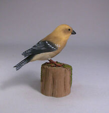 American Goldfinch Female Bird Wood Carving/Birdhug