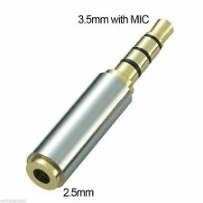 1x Gold 2.5mm Female to 3.5mm Male Headphone Jack Stereo Adapter Converter