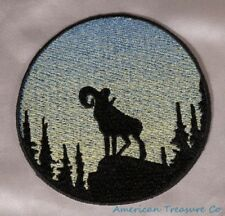 Embroidered Bighorn Sheep Ram Sunrise Silhouette Ombre Circle Patch Iron On USA