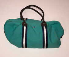 Vtg Tommy Hilfiger Teal Purse Unisex Duffle Bag Canvas Shell Leather Straps 90s