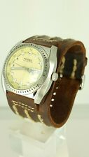 Fossil Blue AM3906 men's watch brown leather beige dial AM-3906 analog 10 ATM