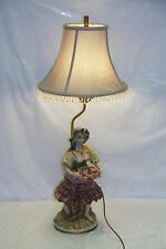 """Capodimonte Lamp """"Woman with fish """" 32"""" Tall   #63"""