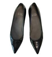 Stuart Weitzman Women's Black Patent Leather Pointy Toe Kitten Heels Shoes 5.5