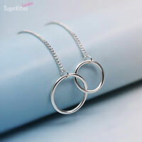 Solid 925 Sterling Silver Eternity Infinity Double Circles CURB Chain Bracelet