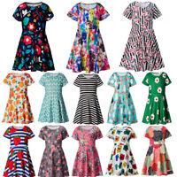 Kid Baby Girls Toddler Short Sleeve Flower Tutu Princess Party Swing Mini Dress