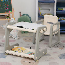 HOMCOM Kids Study Table and Chair Set Drawing Board Writing Desk for Toddlers