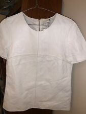 Witchery leather zip back top, colour marshmallow, size 8