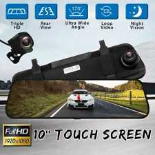 Car Mirror 1080P Back Camera Dual Lens Video Recorder 10inch Touch Screen Logger