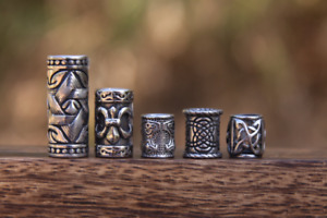 Set of 5 Viking Dreadlock Beads 8/9mm Hole (5/16 Inch) Stainless Steel Dread
