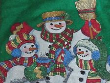 """Christmas Stocking With A Snow Family & Bunnies 14"""" X 21"""" Long Made From Felt"""