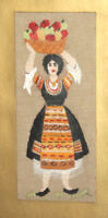 Vintage hand made tapestry gobelin woman with folk costume