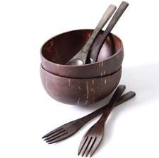 Natural Superior Coconut Bowl Spoons Forks Set 100% Hand-Made Eco Friendly Polis