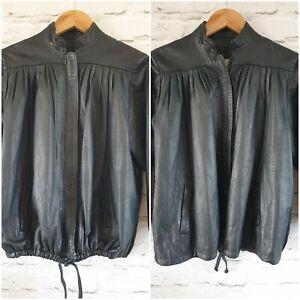 Unit 2 80s Style Genuine Leather Jacket Pull Hem Uk Size  10/16