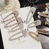 Fashion Girls Crystal Hair Clip Snap Barrette Hairpin Bobby Accessory Women