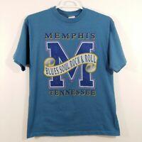 Vintage Memphis Blues Soul Rock & Roll Blue T-Shirt Size Large Tennessee Purple
