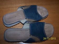 MONTEGO BAY CLUB BRAND BLUE/GOLD LEATHER FABRIC SLIDE SANDALS SIZE 7.5M FLAT