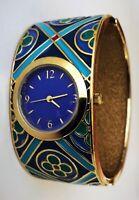 Metropolitan Museum of Art Blue Green Gold Enamel Cuff Clamper Bracelet Watch
