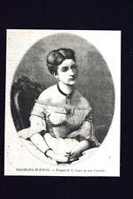 Margherita di Savoia - Disegno di G. Gonin da una fotofrafia Incisione del 1868
