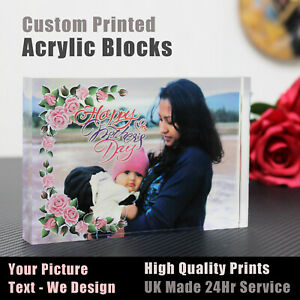 Personalised Printed Acrylic Photo Block Free Standing Photo custom Gift plaque