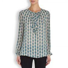 Tory Burch Dress Shirt Silk Scarab Top 6 Beetle S M Georgette Blouse Josephine