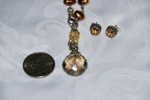 Alana Leigh Love Sterling Silver Bronze Topaz Pearl Necklace & Earrings