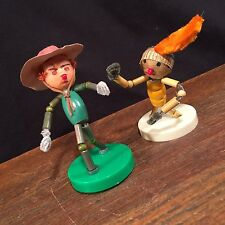 Vtg Cowboy & Indian Western Chenille Pipe Cleaner Figures Japan PRIORITY MAIL