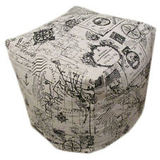 """Nautical Theme Bean Cube Foot Stool Seat Pouffe 45cm (18"""") Handmade - Cover Only"""