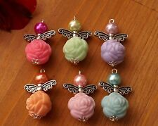 7x Mixed Angel Charms Rose Flowers Pearl Beads Silver Wings COLORS MAY VARY