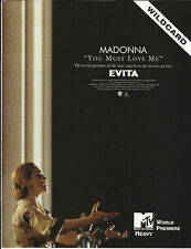 Madonna You Must love Trade Ad Poster of 1996 Evita Cd