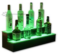 "32"" 2 Step Tier LED Lighted Shelves Illuminated Liquor Bottle Bar Display Stand"