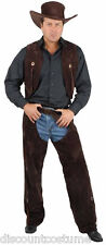 BROWN COWBOY CHAPS & VEST ADULT HALLOWEEN COSTUME MEN'S SIZE X-LARGE 46-48