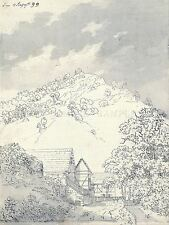 PAINTING SKETCH FRIEDRICH FARMHOUSES HILLSIDE ART PRINT POSTER LF747