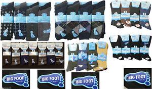 12 Pairs Men Non Elastic Loose/Soft Top 100%Cotton Diabetic BIG FOOT SOCKS 11-14