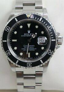 1999 Rolex Submariner Automatic 40mm Ref 16610 Black Dial Men's Watch w/Papers