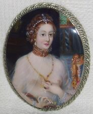 "Lacquer brooch Mother of pearl "" Portrait Diane de Poitiers "" Hand Painted Pin"