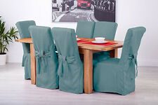 Set of 8 Duckegg Fabric Dining Chair Covers for Scroll Top High Back Leather