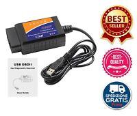 ELM 327 CAVO CONNESSIONE USB OBD2 V1.5 DIAGNOSI AUTO SCANNER OBDII DIAGNOSTICA