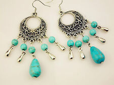 Beautiful Turquoise Stone Filigree Bohemian Earrings Gift for Special Loved One