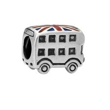 British Flag Bus Paint Big Hole Charms Bead For sterling 925 Bracelet Chain