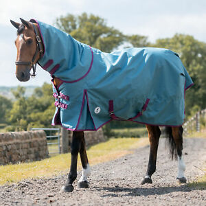 Derby House Pro Medium Detach A Neck Horse Rug Turnout - Argean Blue Beet Red