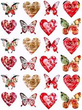 """1 1/2"""" - 2 1/8"""" LOVELY VICTORIAN FLORAL HEART BUTTERFLY STICKERS USA MADE #39"""