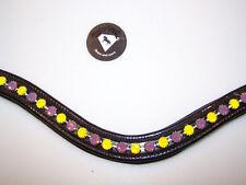 Stirnriemen geschwungen Strass lila gelb  Leder Lack WB 41 cm