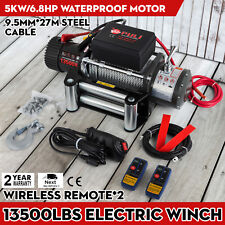 WIRELESS ELECTRIC WINCH 12V 4X4 13500 LB OFFROAD VEHICLE STEEL CABLE Heavy Duty
