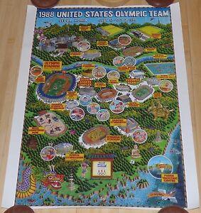 1988 UNITED STATES OLYMPIC TEAM HANDI WRAP II MAP POSTER SEOUL KOREA