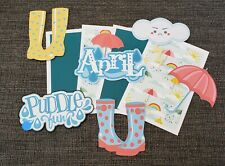 April showers rain month scrapbook 4~4x6 photo mats and printed die cuts #348