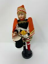 Vintage Eros Drummer Boy Doll Painted Face Decorative Costume & Drum w/stand