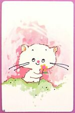 SWAP CARD. CUTE KITTEN WITH FLOWER ILLUSTRATION. HOYLE. MINT COND
